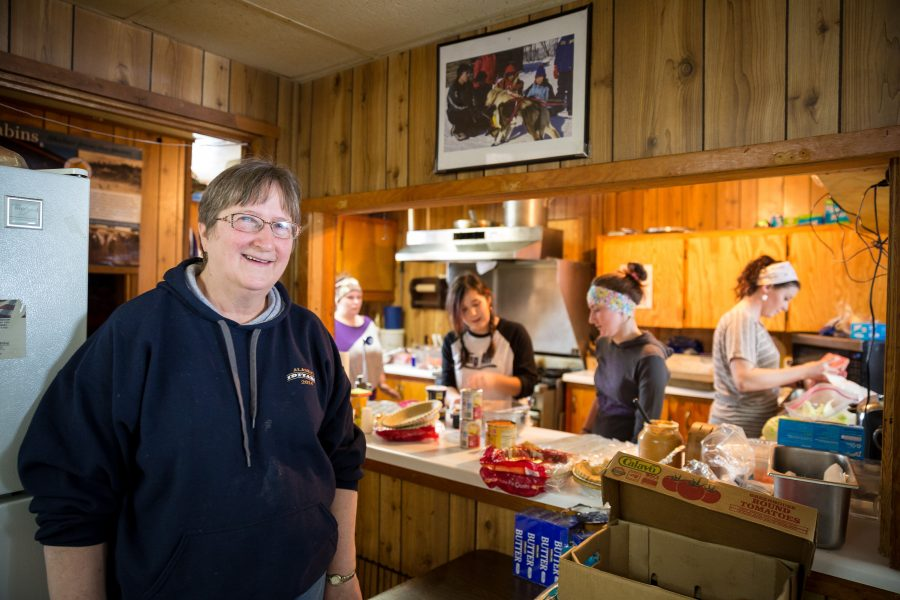 Crew of the Takotna checkpoint hard at work in the kitchen